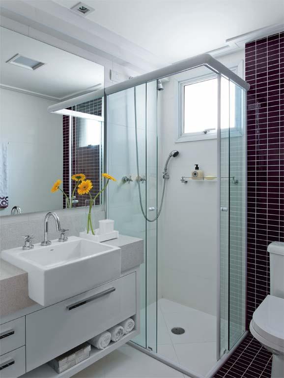 30 fotos de decoração de banheiros com pastilhas -> Banheiro Pequeno Zen