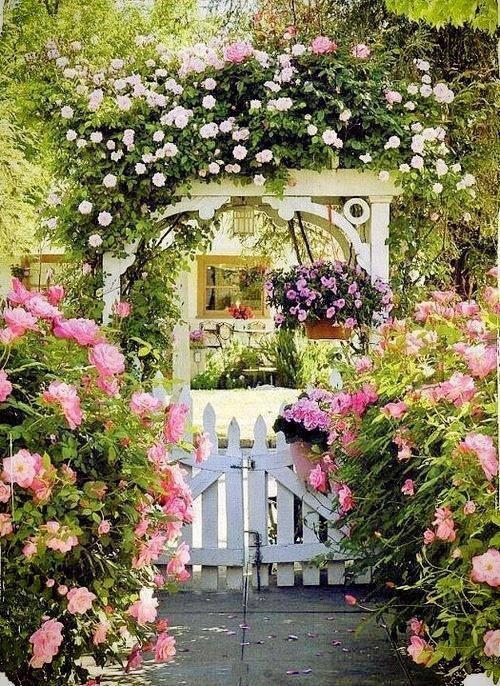 decoração de pérgola com flores