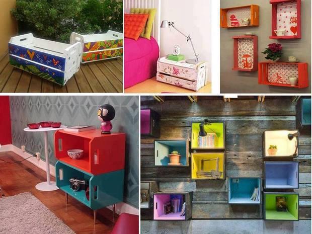 decoração com caixotes coloridos
