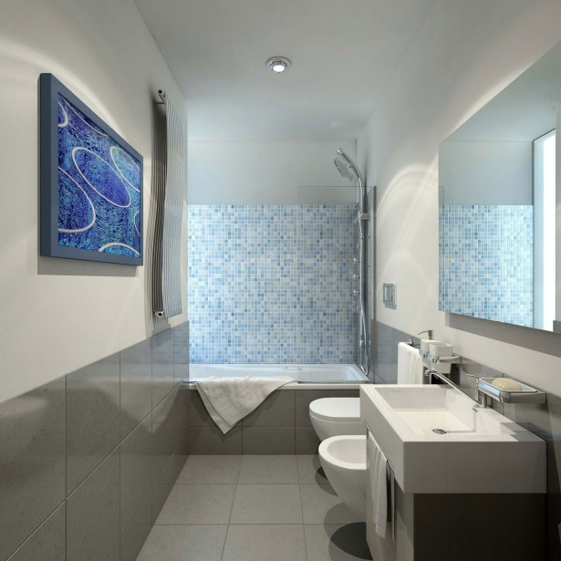 Banheiros modernos com pastilhas