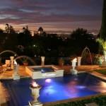 decoração de piscinas noite