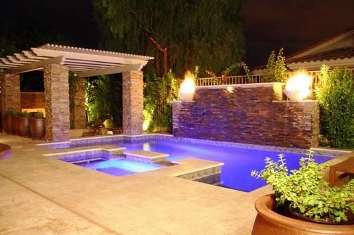 decoração de piscinas com luminárias