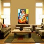 Decoração com quadros coloridos