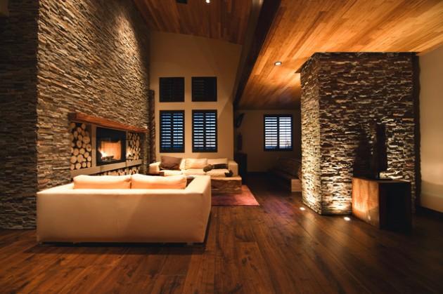 interiores decorados com pedras naturais